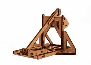 3/4 view of mini trebuchet on a white background.