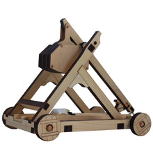 Load image into Gallery viewer, Side view of assembled Trebuchet on a white background.