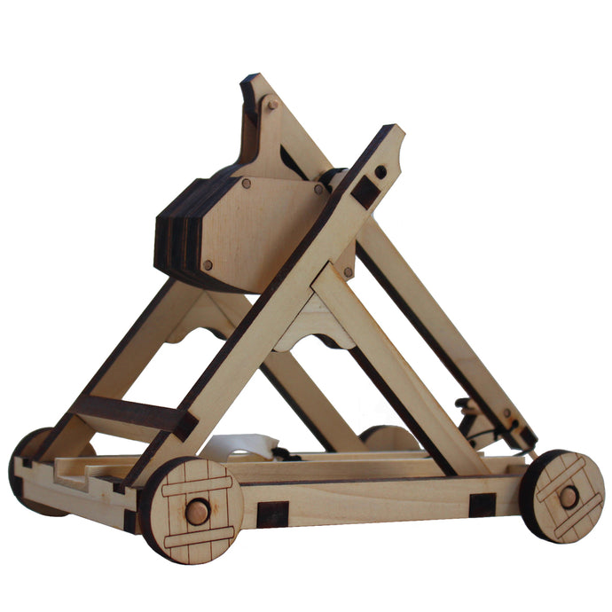 Side view of assembled Trebuchet on a white background.