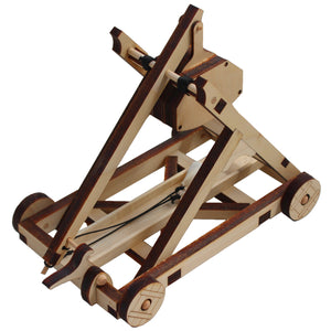 Top view of assembled trebuchet kit. On a white background.
