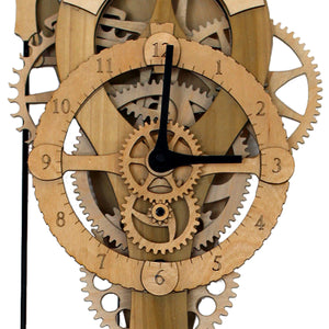 Close up view of head of 'Vera' mechanical clock. Shows gears and nose on a blank background.