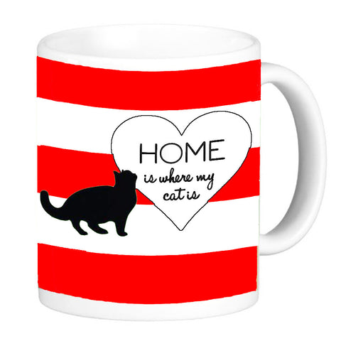 Red Cat Lover's Coffee Mug - Home Is Where My Cat Is