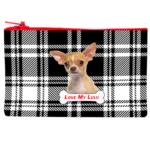 Personalized Plaid Cosmetic Bag
