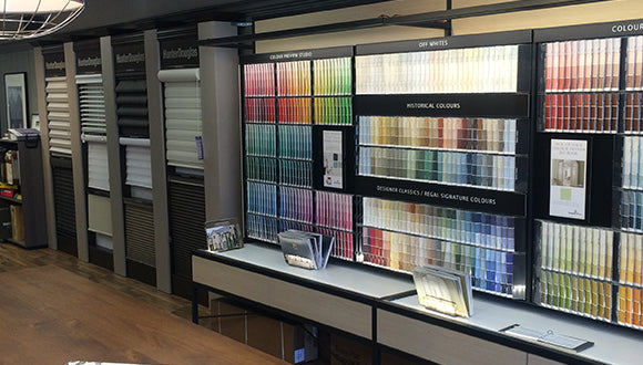 Our High Park Toronto Paint Store in Bloor West Village. Color pallette options, wall covering products, paint products.