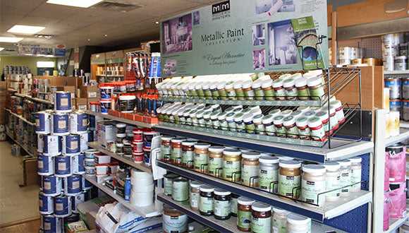 North York store interior. Shelf displays with various paint products.