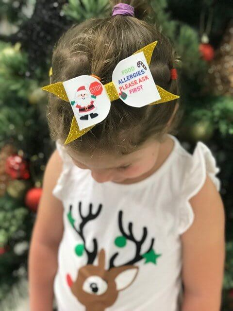 Santa Food Allergy Bow
