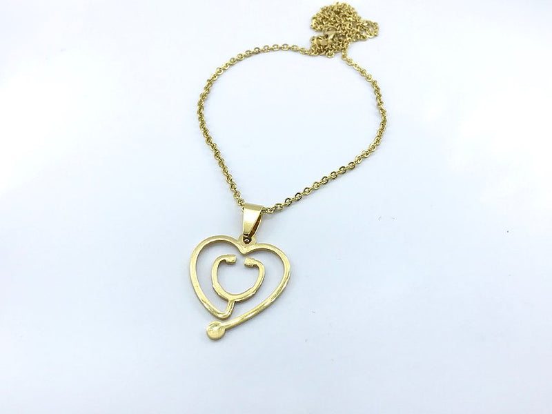 Stethoscope Necklace Gold