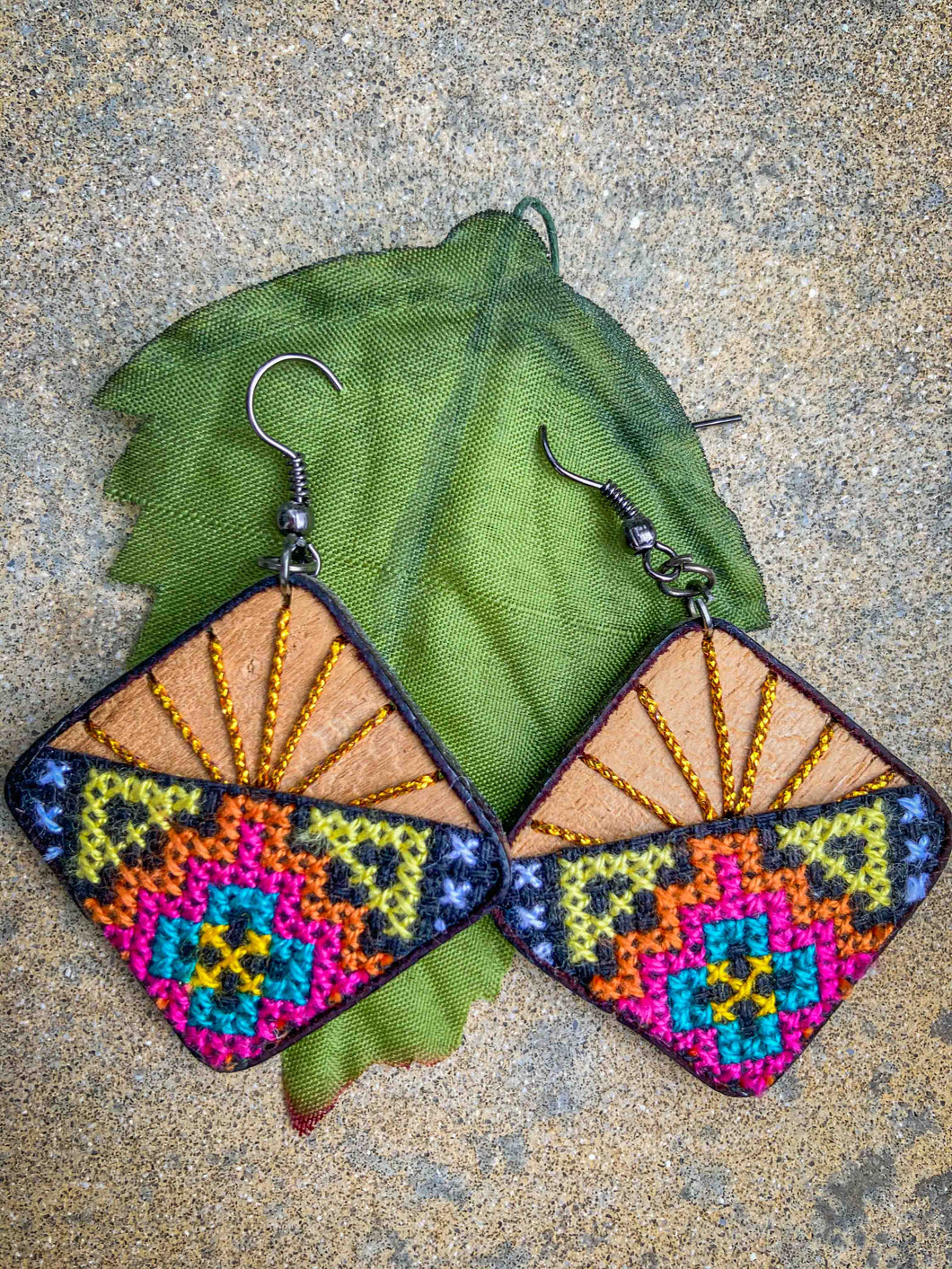 Hand Made Needle Point Teak Earrings  Green,Pink,Red & Orange Square