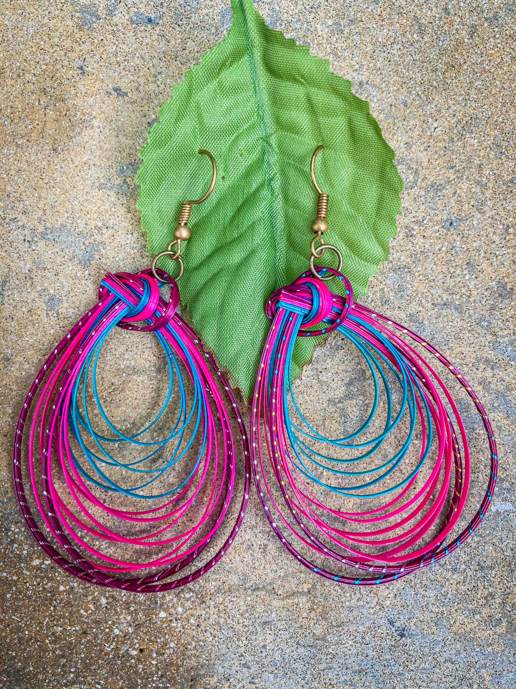 Hand Made Bamboo Earrings  Pink/Blue Single Round Petals