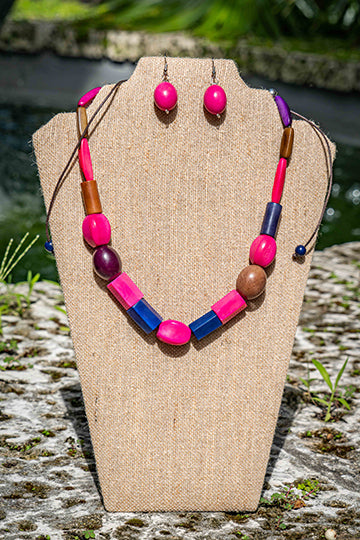 Pink Oval Earrings & Pink and Purple  Necklace