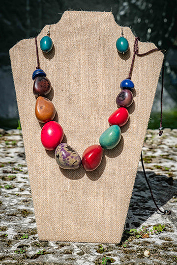 Teil Earrings &  Multi Colored Necklace