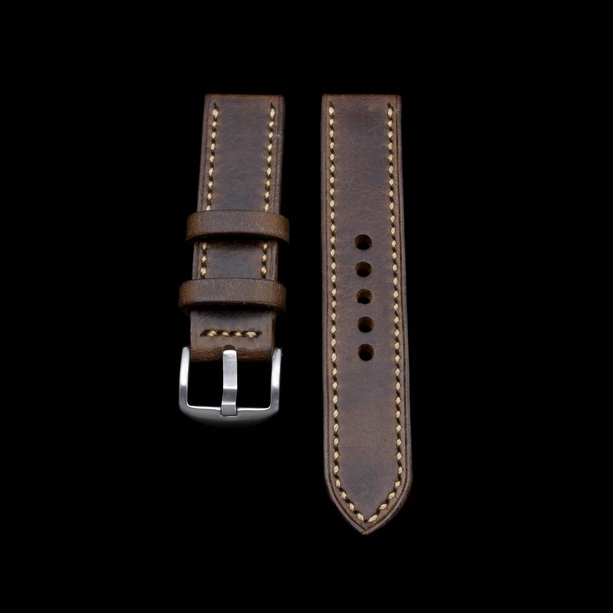 Leather Watch Strap, Douglas 110 (Dark Reddish Brown) | Full Stitch | Cozy Handmade