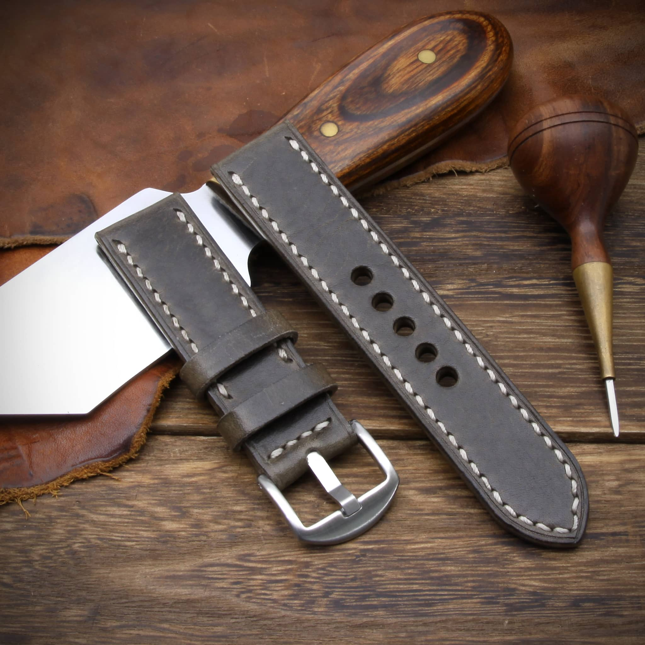 Leather Watch Strap, Douglas 116 (Dark Olive Grey) | Full Stitch | Cozy Handmade