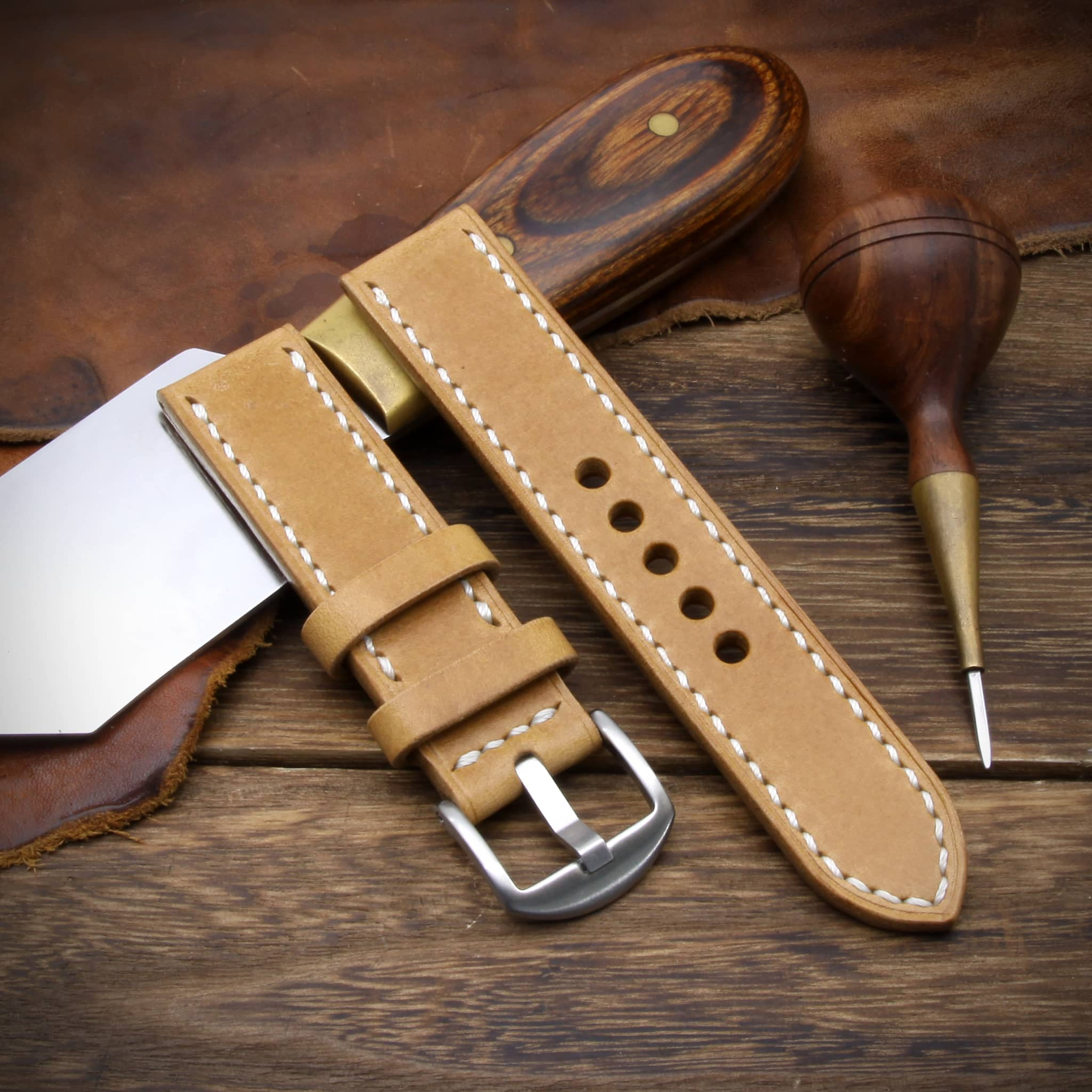 Leather Watch Strap, Sequoia 101 (Caramel Tan) | Full Stitch | Cozy Handmade