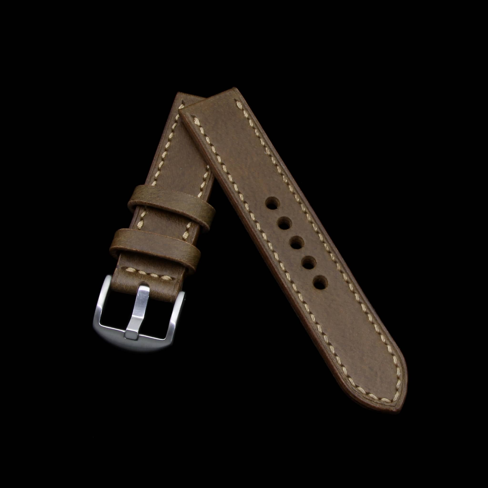 Leather Watch Strap, Sequoia 104 (Coffee Brown) | Full Stitch | Cozy Handmade