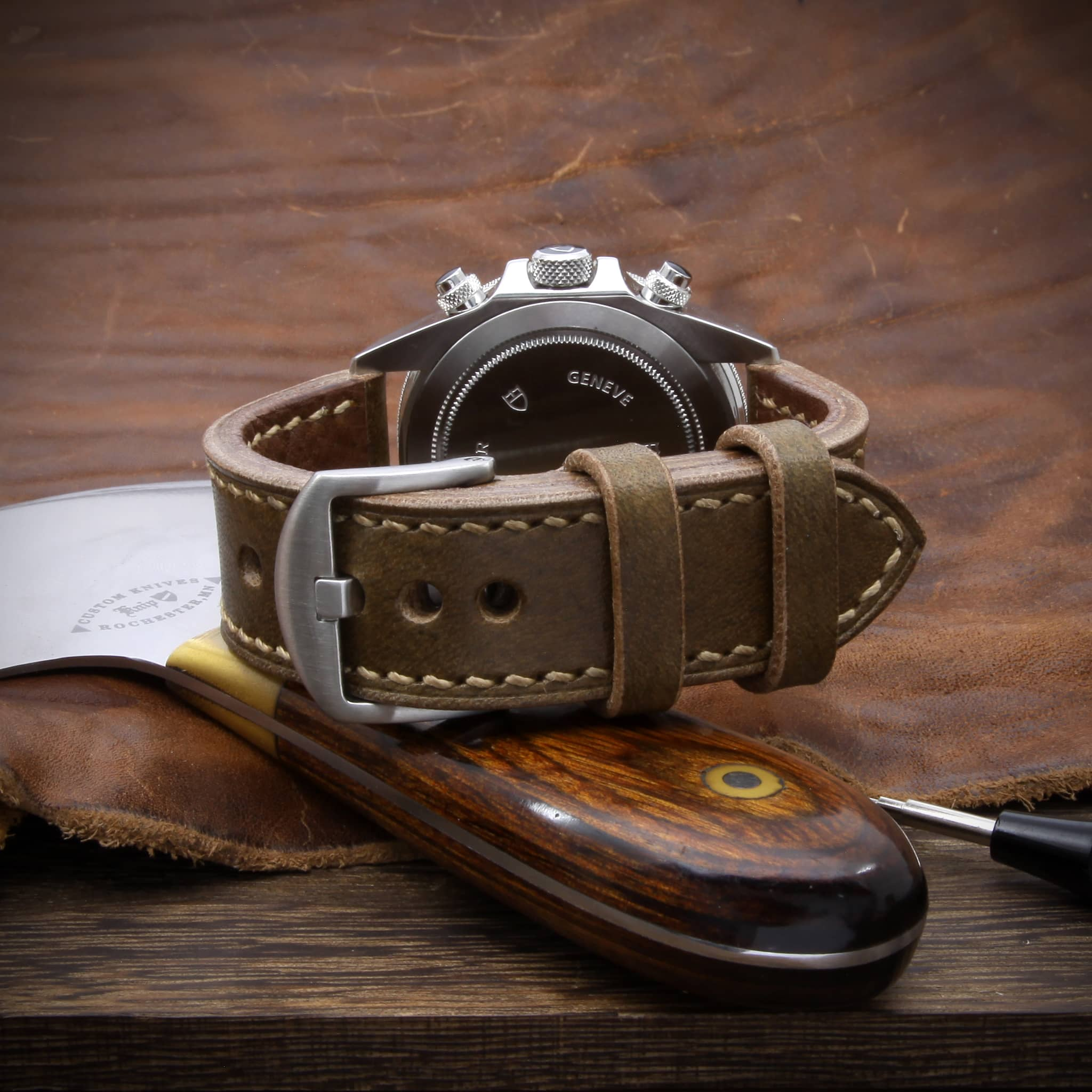 Leather Watch Strap, Sequoia 104 (Coffee Brown) | Full Stitch | TUDOR Watch | Cozy Handmade