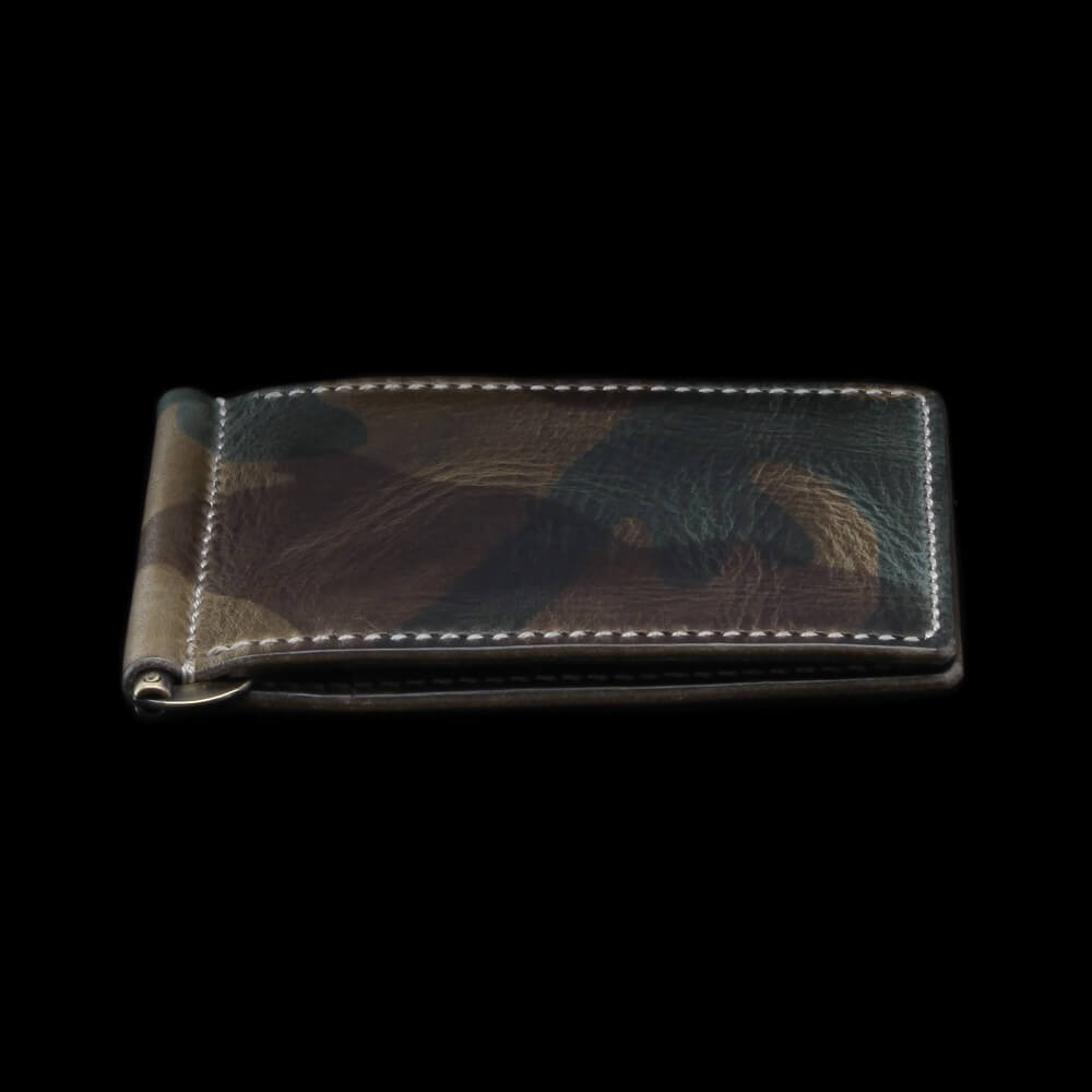 Leather Money Clip Wallet, Military 107