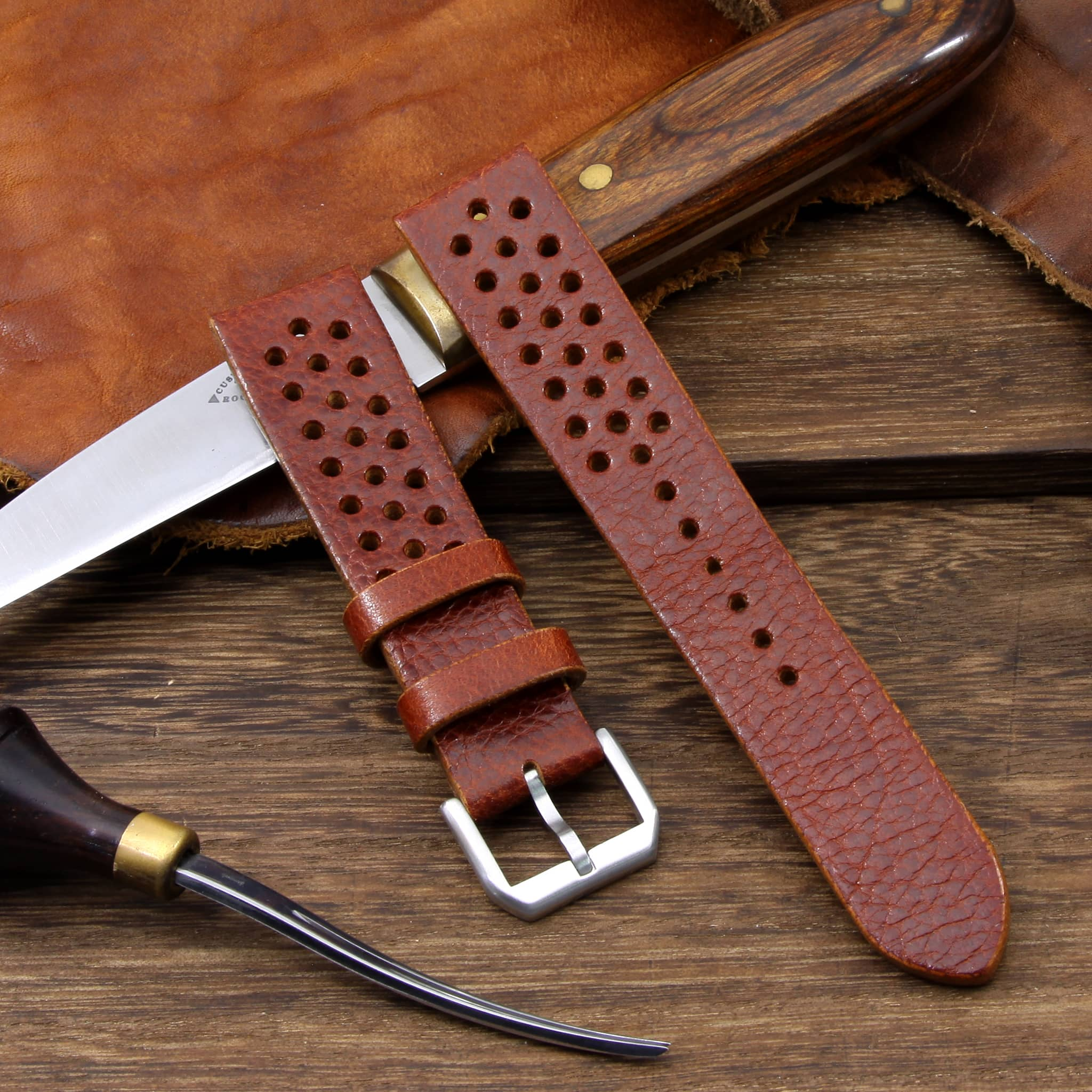 Rally Leather Watch Strap, Maremma 503 | Stitch-less | Cozy Handmade