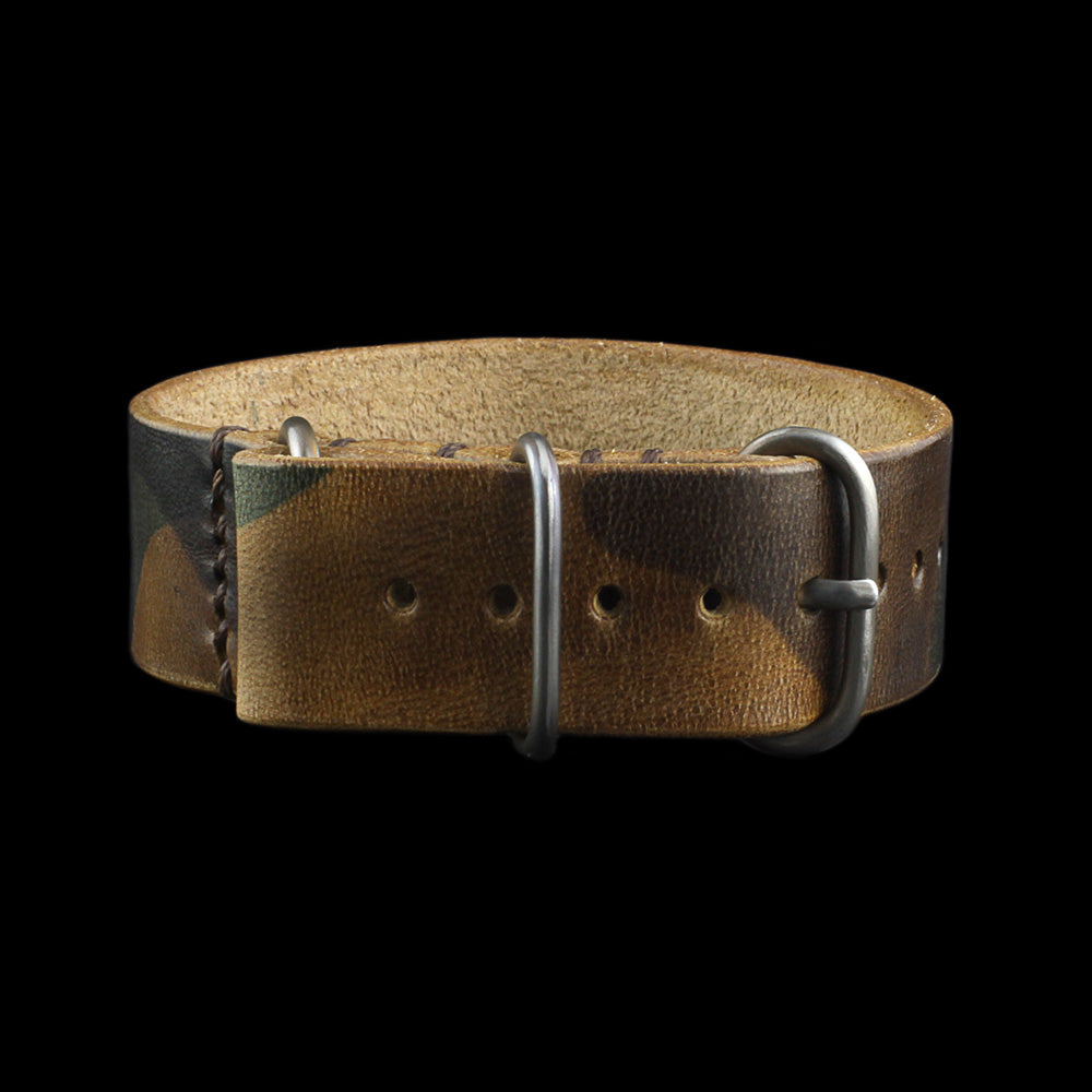 Single Pass Leather Watch Strap, 3-Ring Military 101