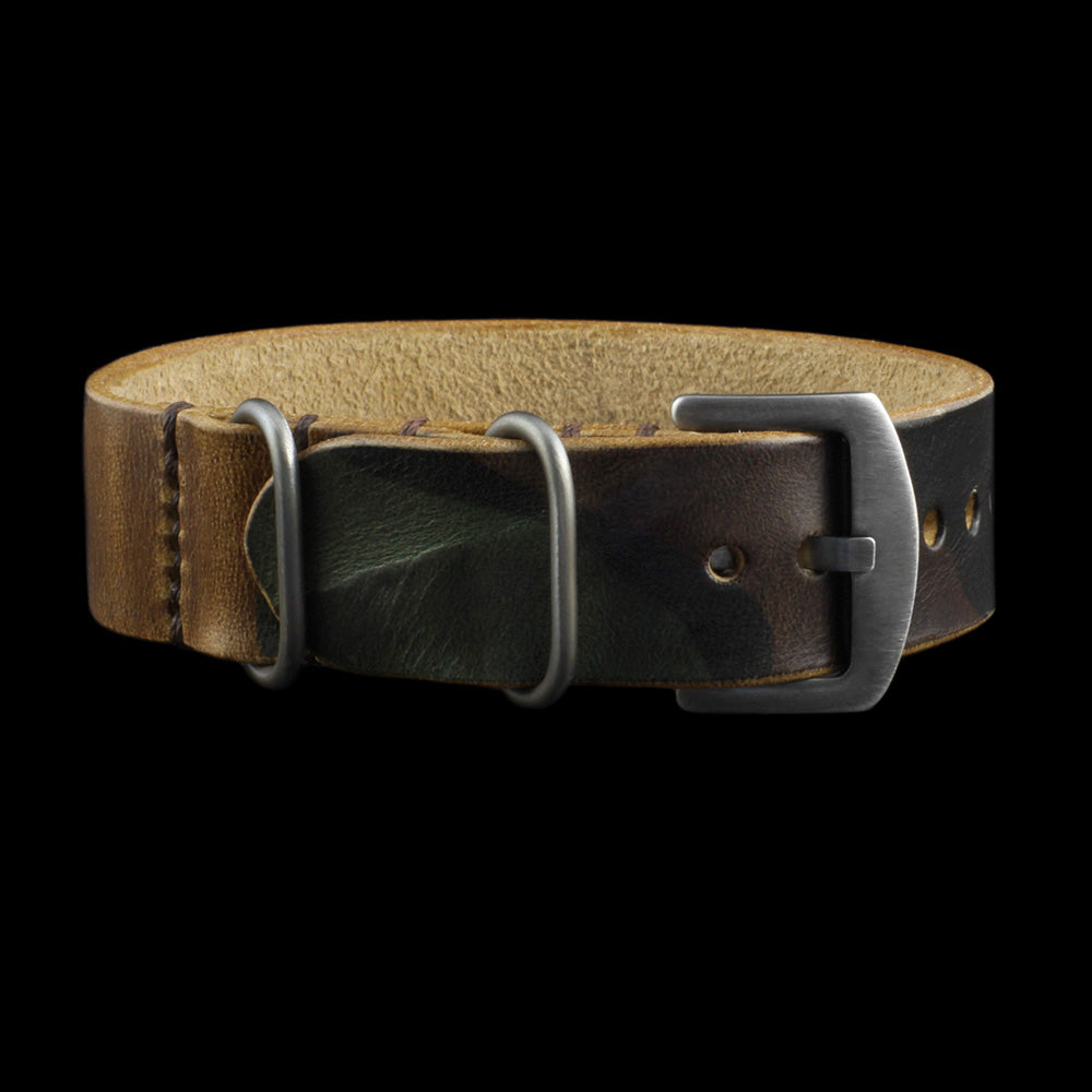 Single Pass Leather Watch Strap, 3-Ring Military 101 Style II