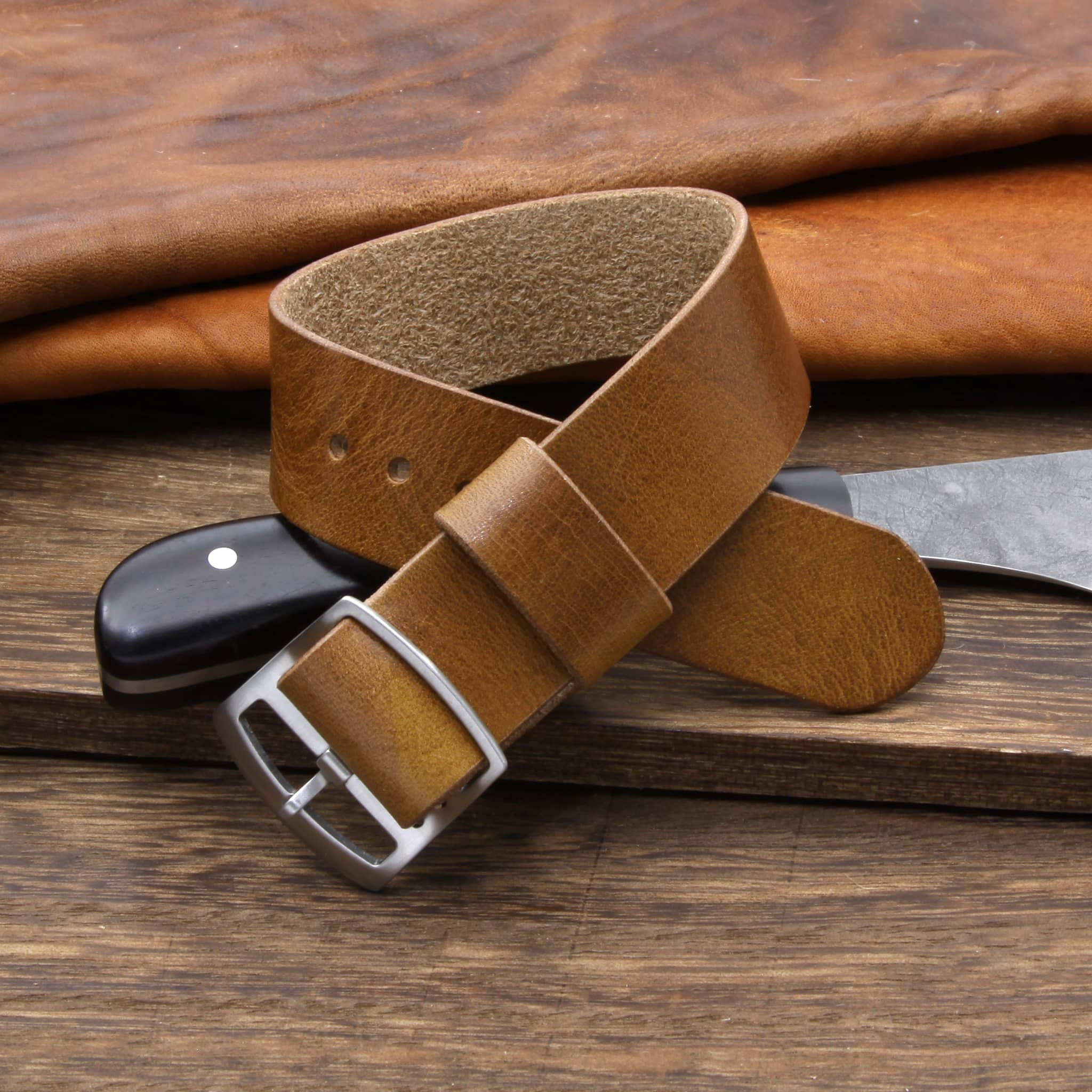 Adjustable One-Piece Leather Watch Strap, Military 102 | Cozy Handmade