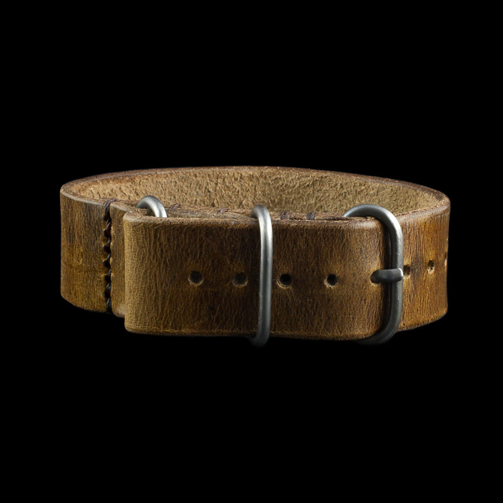 Single Pass Leather Watch Strap, 3-Ring Military 102