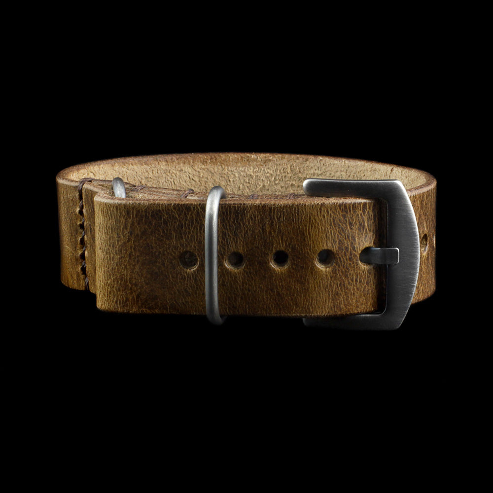 Single Pass Leather Watch Strap, 3-Ring Military 102 Style II