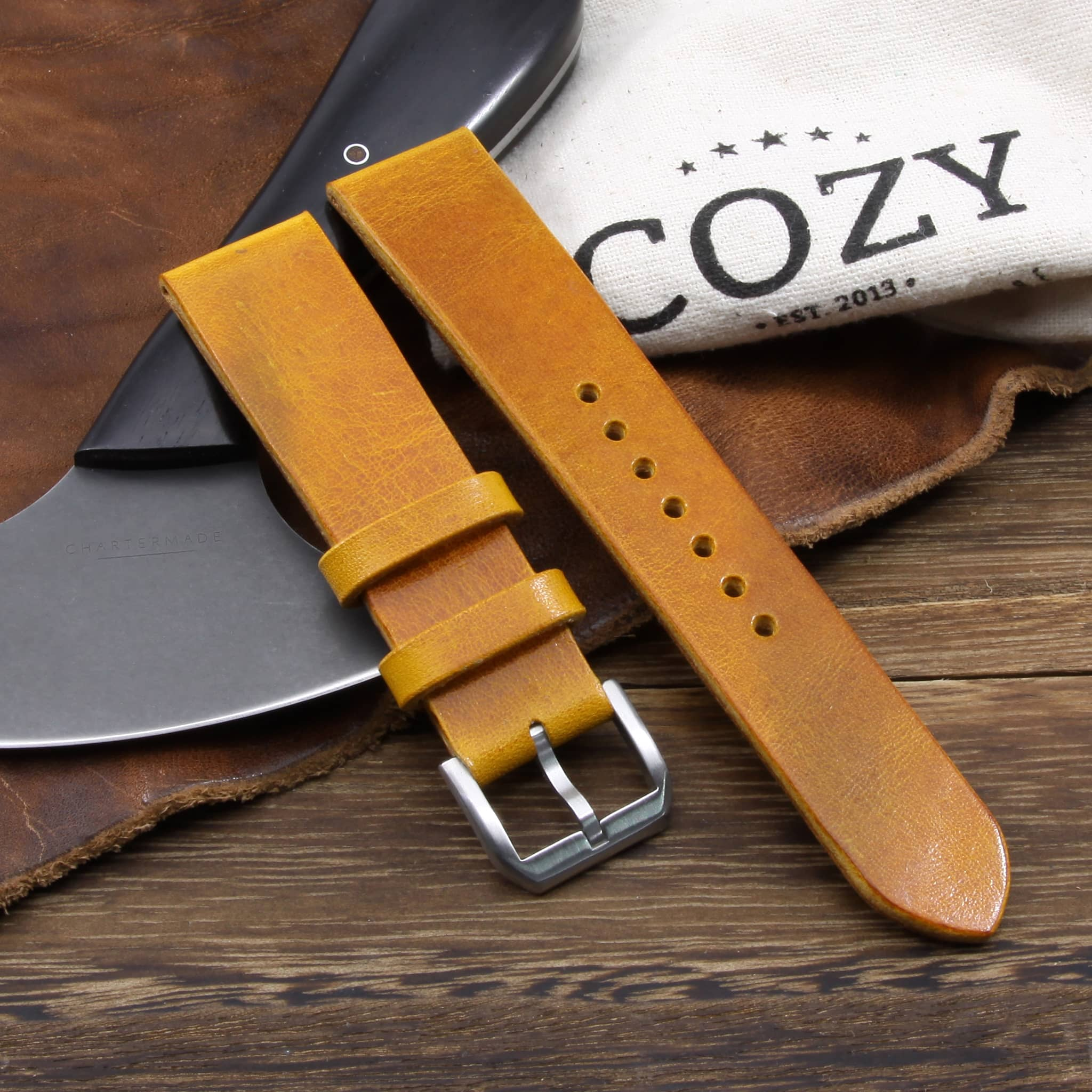 Leather Watch Strap, Military 104 | Stitch-less | Cozy Handmade