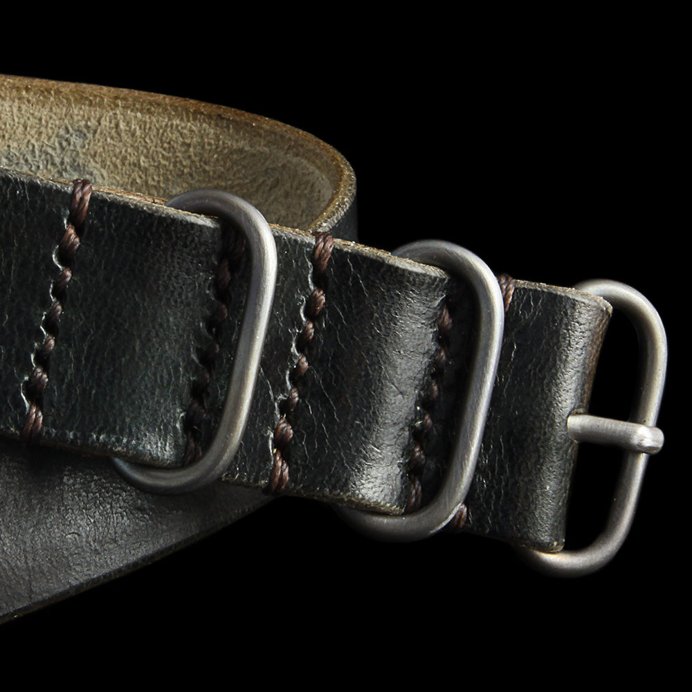 Leather NATO Strap, 3-Ring Military 107