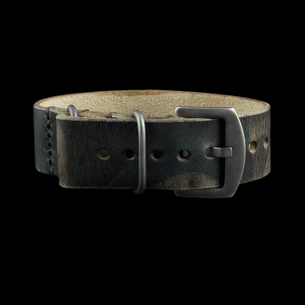 Single Pass Leather Watch Strap, 3-Ring Military 107 Style II