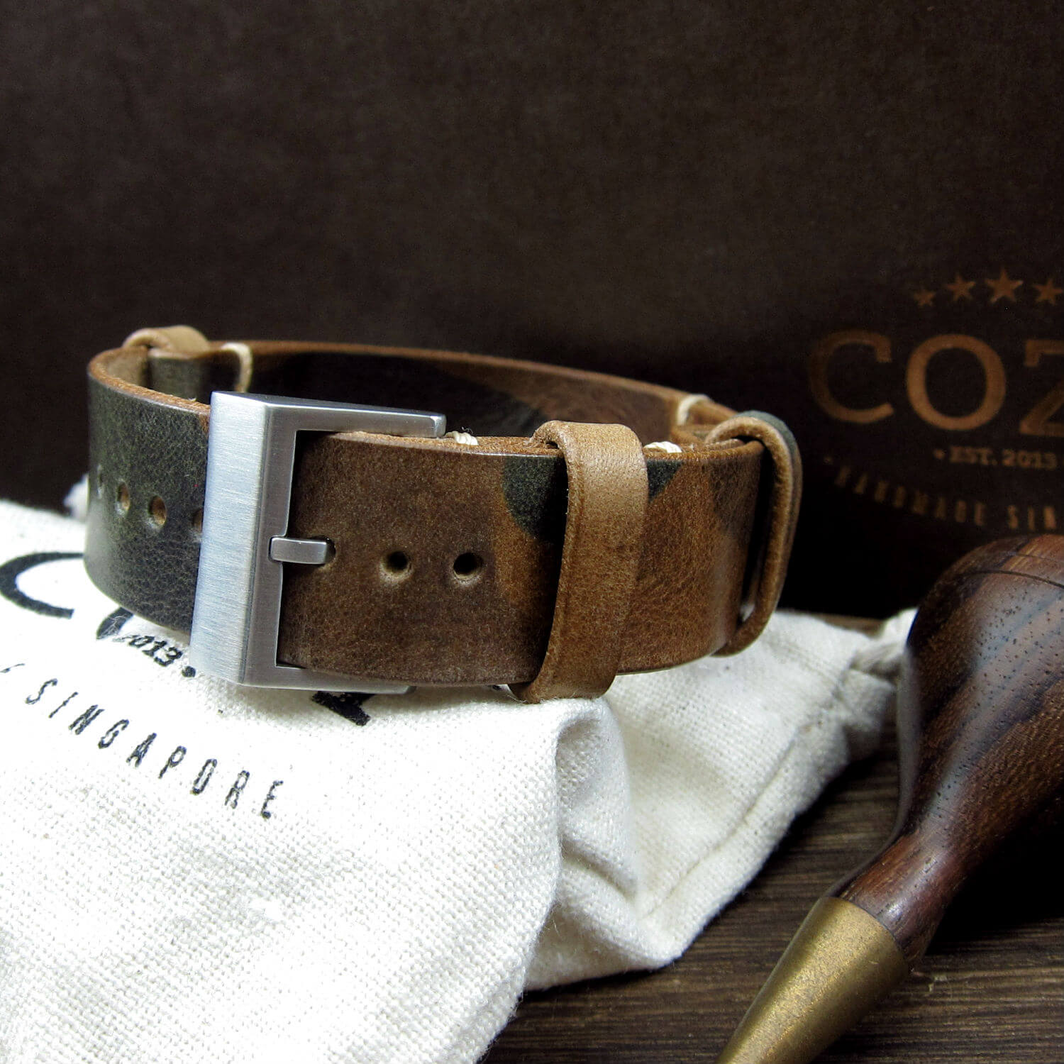 Leather NATO Strap, NAT2 Military 101 (Brushed Steel Buckle Finish)