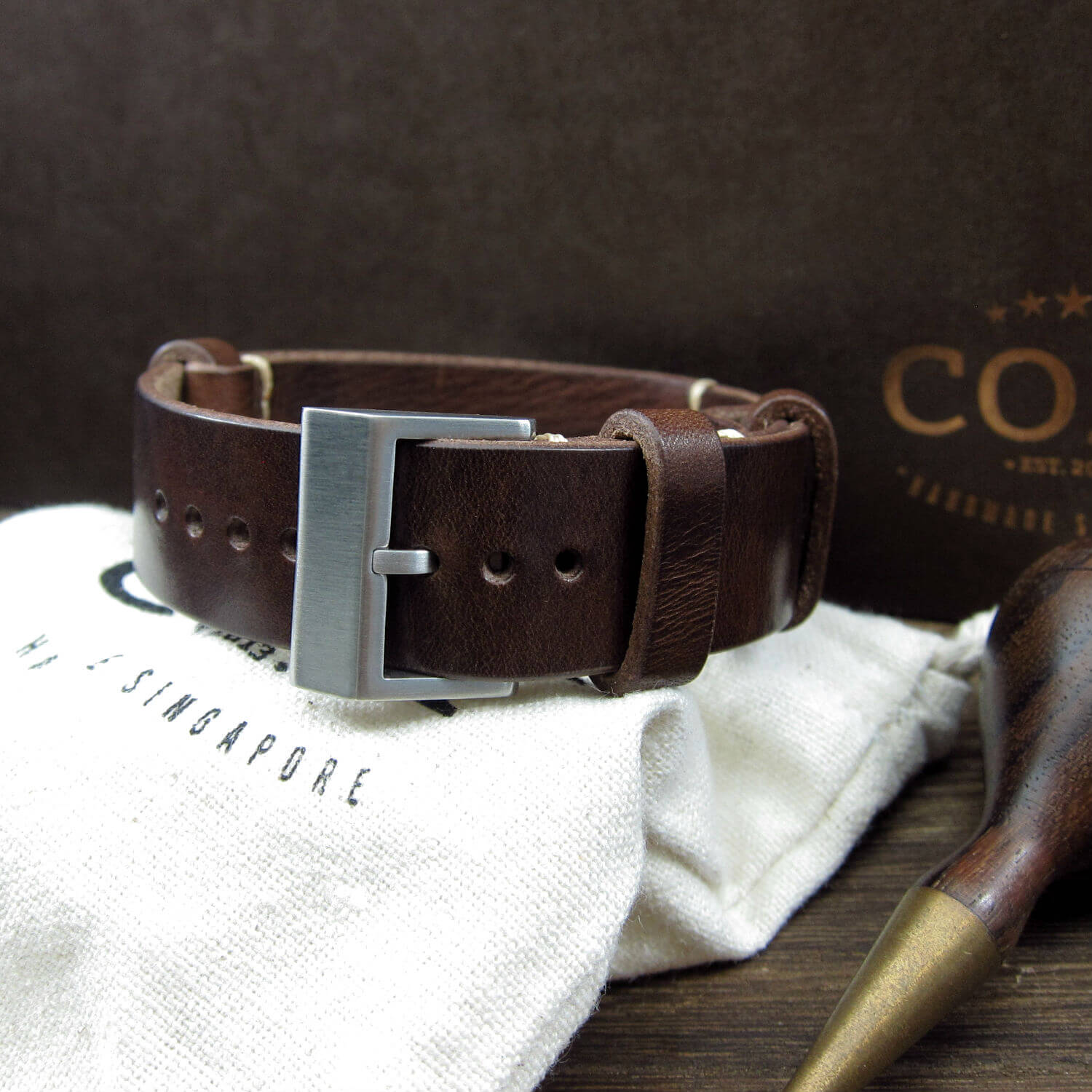 NAT2 Leather Watch Strap, Military 103