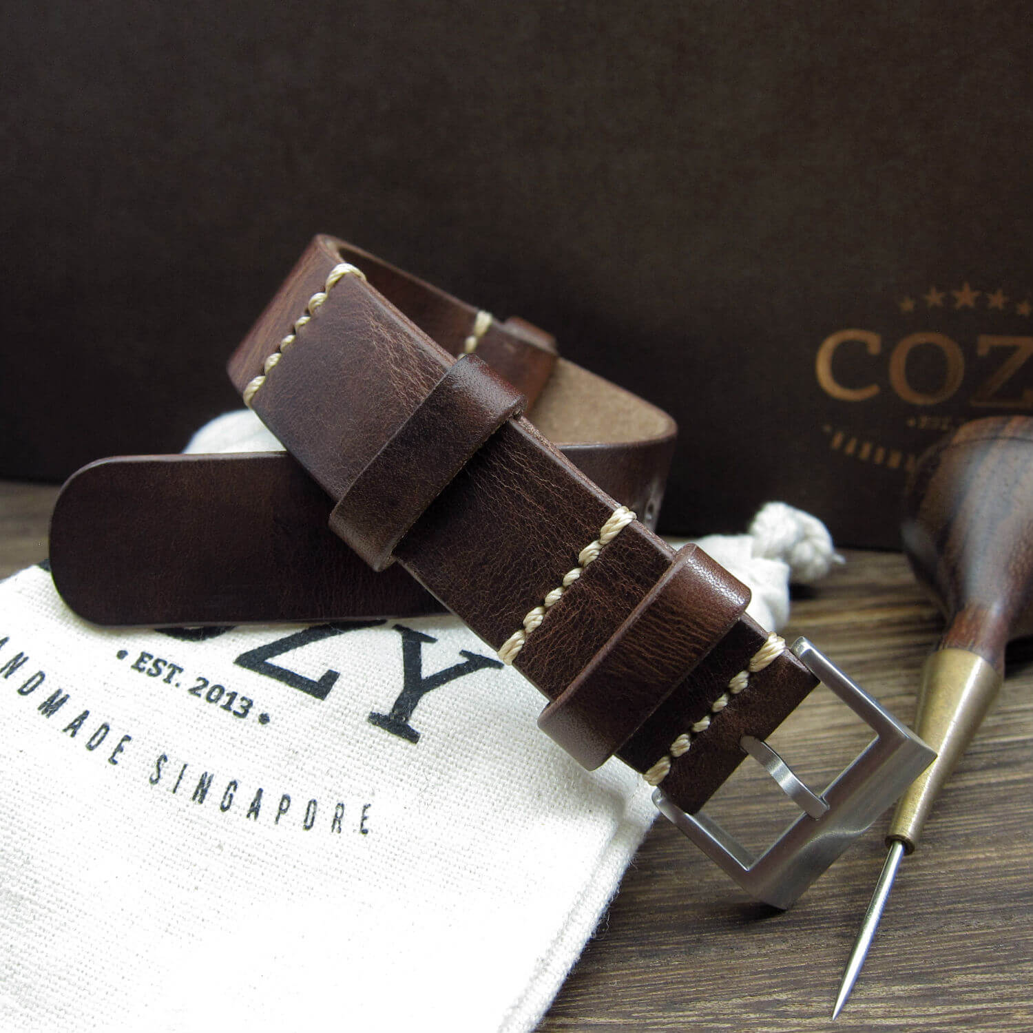 NAT2 Leather Watch Strap, Military 103 (Brushed Steel Buckle Finish)