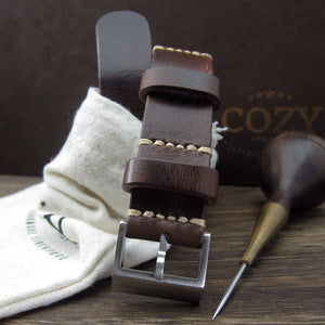 Open image in slideshow, NAT2 Leather Watch Strap, Military 103