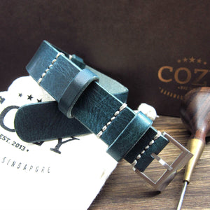 Open image in slideshow, NAT2 Leather Watch Strap, Military 106 (Brushed Steel Buckle Finish)