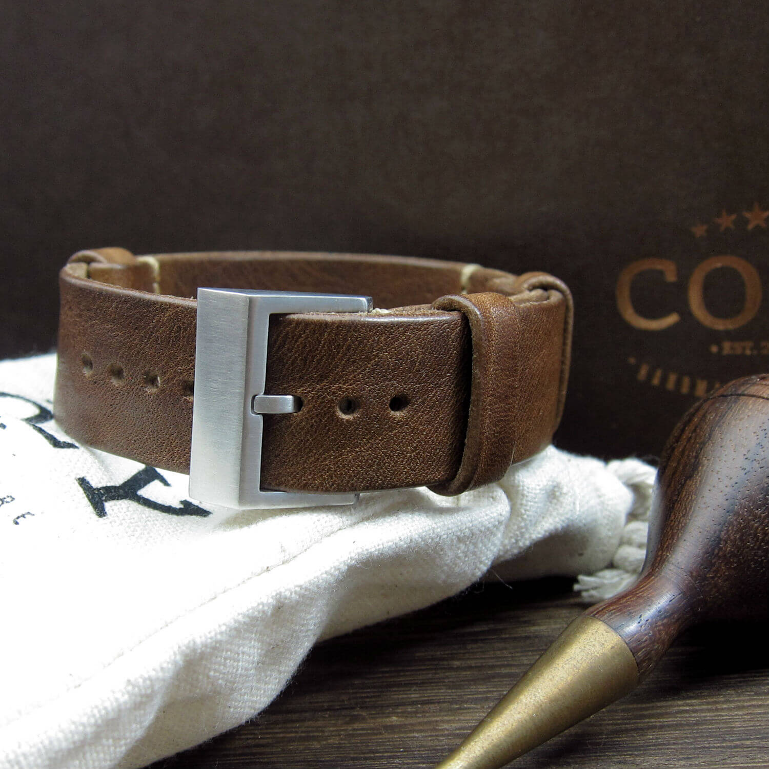 NAT2 Leather Watch Strap, Vintage 402 (Brushed Steel Finish Buckle)