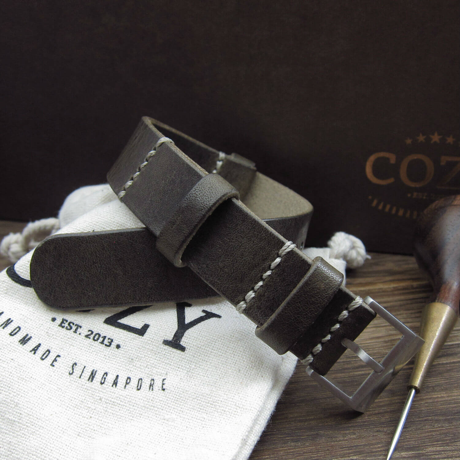 NAT2 Leather Watch Strap, Vintage 408 (Brushed Steel Finish Buckle)