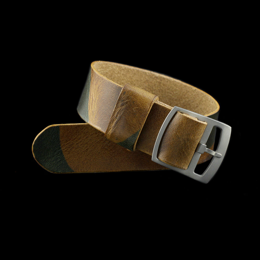 Adjustable One-Piece Leather Watch Strap, Military 101 | Cozy Handmade