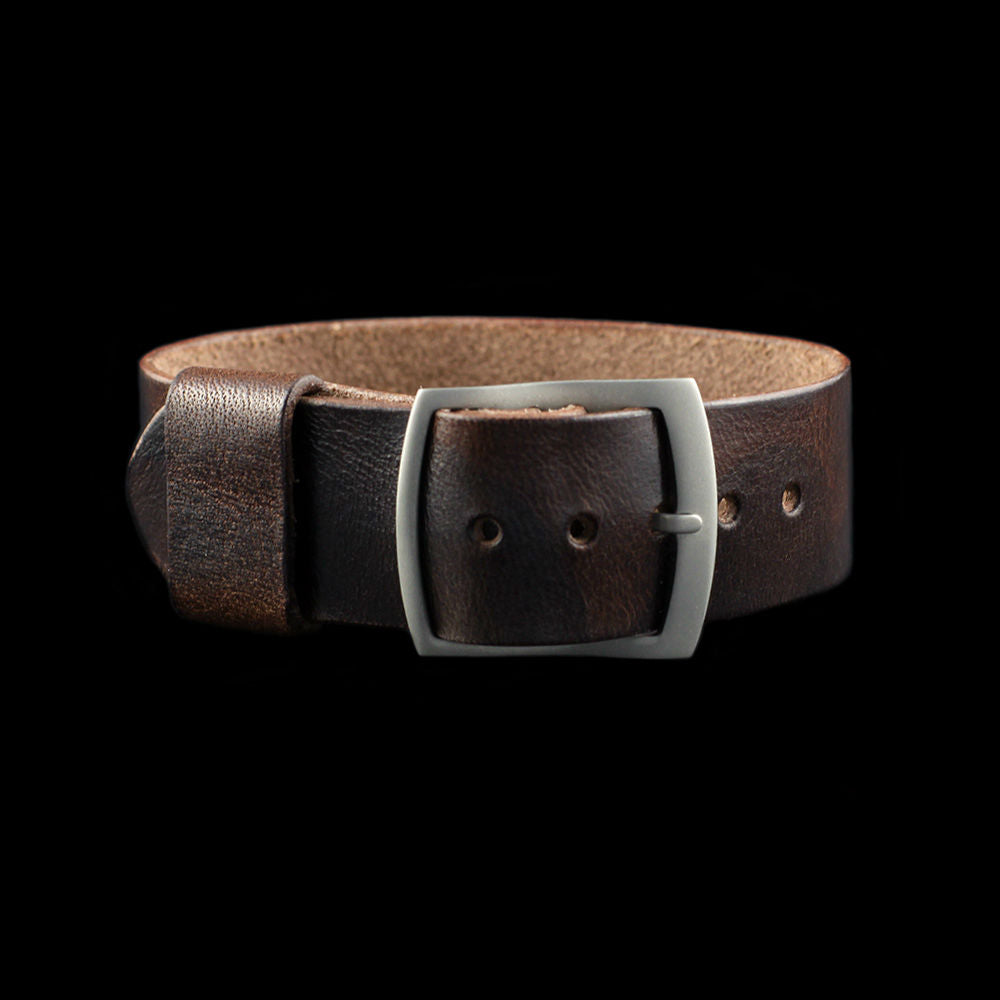 Adjustable One-Piece Leather Watch Strap, Military 103 | Cozy Handmade
