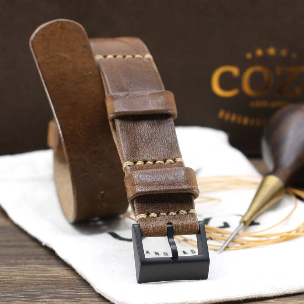 Leather NATO Strap, Vintage 402 Style II - Black Buckle