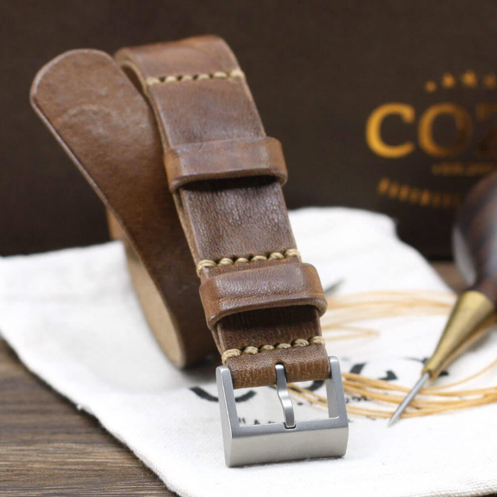 Leather NATO Strap, Vintage 402 Style II - Matte Buckle
