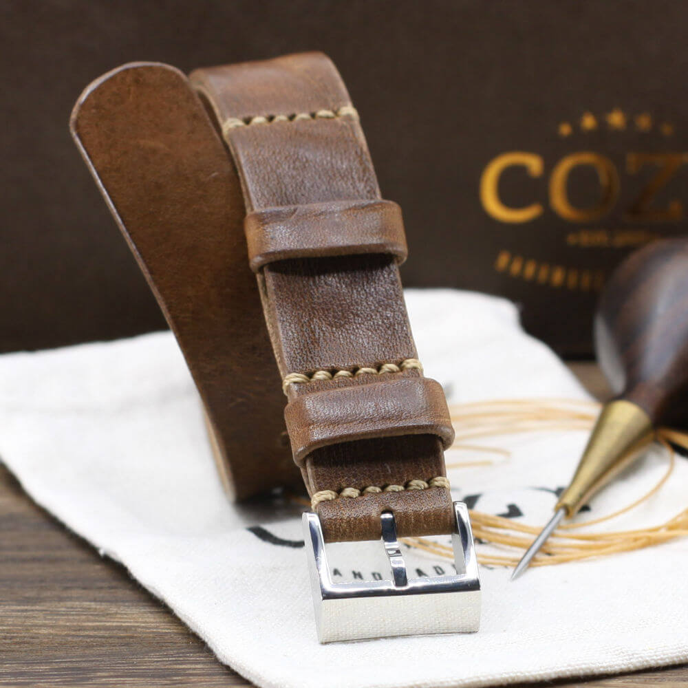 Leather NATO Strap, Vintage 402 Style II - Polished Buckle
