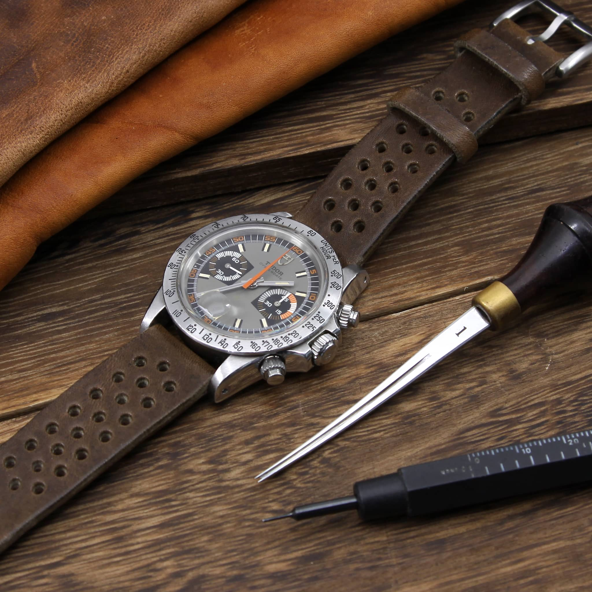 Rally Leather Watch Strap, Vintage 404 | Stitch-less | Cozy Handmade