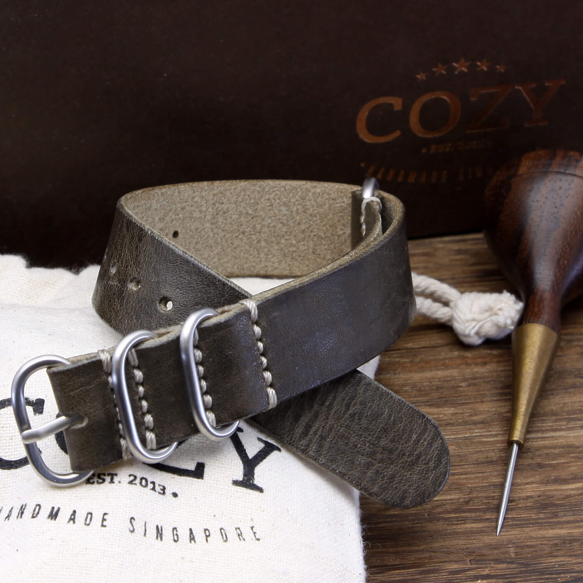Leather Watch Strap, 4-Ring Vintage 408