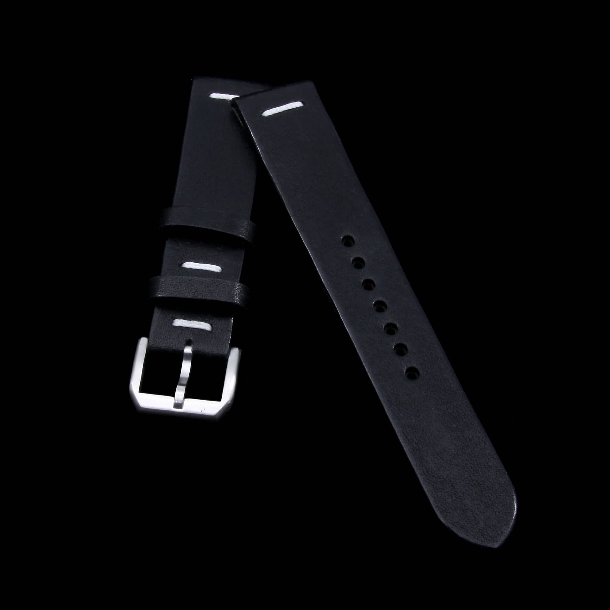 Leather Watch Strap, Vintage NERO (Black) | Center Stitching