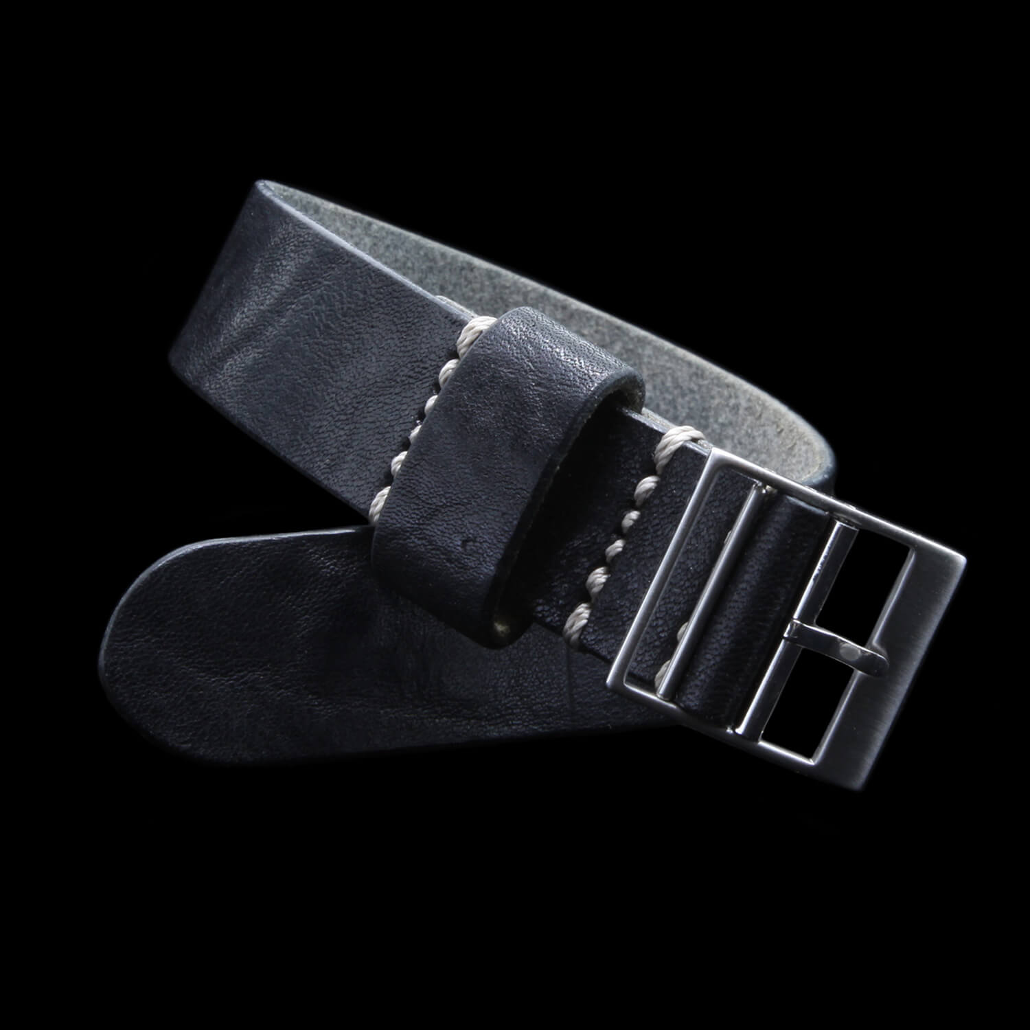 Leather Watch Strap, Classic RAF II Vintage NERO (Black) | Ladder Buckle