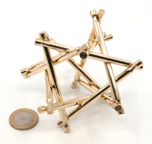 Nova Plexus Limited Edition Stainless Steel Puzzle Sculpture plus Extra Brass Copy