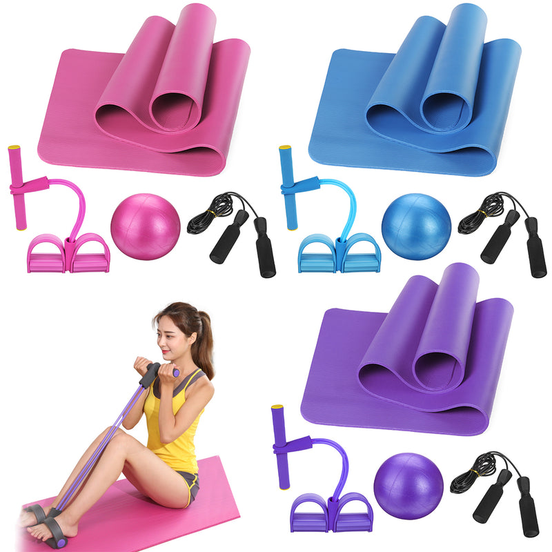 4PCS Yoga Beginner Kit Set Anti-skid Pilates Ball + Jump Rope + Resistance Band + Yoga Mats Home Fitness Tools