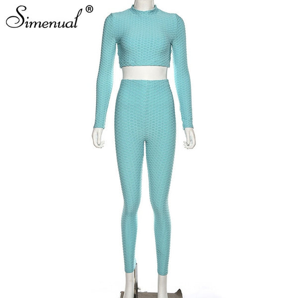 Simenual Fitness Sportswear Push Up 2 Pcs Pants Set