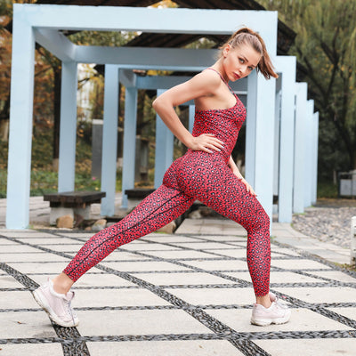 Printed Yoga One-piece Stitching Leopard gym set